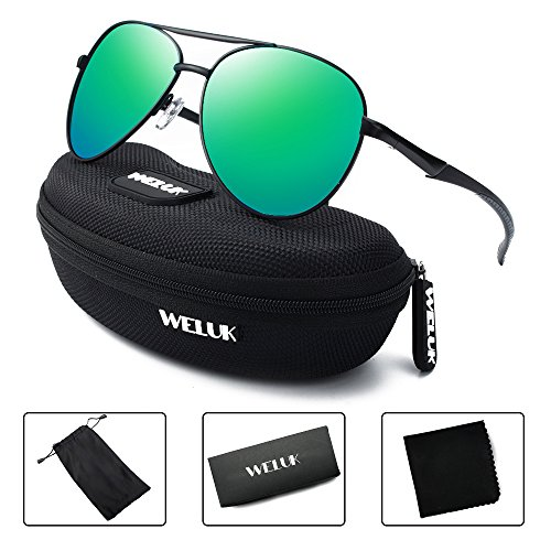 WELUK Aviator Sunglasses for Men Polarized Military Retro Mirrored Large Frame (Black & Green, - With Small Heads Sunglasses Men For