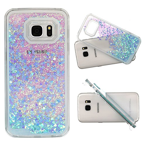 Galaxy S7 Edge Case , S7 Edge Quicksand Star Liquid Case, Surpriseyou Twinkle Little Stars Moving sand Liquid Shiny Bling Glitter Sparkle Hard PC Case for Samsung Galaxy S7 Edge (Blue Bling (Edges Stars)