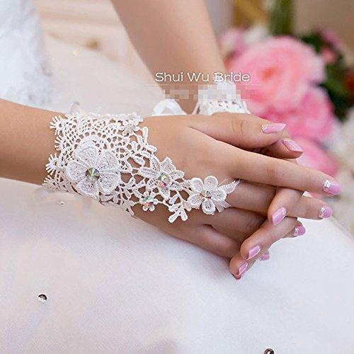 Qyz@ Korea Style Fashion Flower Lace Diamond Short Bride Gloves Wedding Accessories