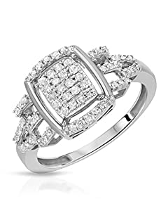 White Gold 0.30 CTW Color H-I, I2 Diamond Women Ring. Ring Size 6.5. Total Item weight 2.6 g.
