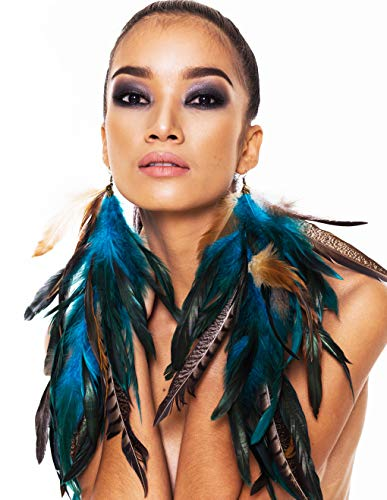 Natural Feather Earrings Fancy Long Natural Feather Earrings Blue Feather Earrings for Women