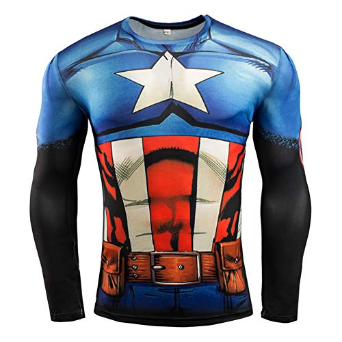 Men's Slim Fit Compression Shirt,Captain America Cool Printed Running Tee L -
