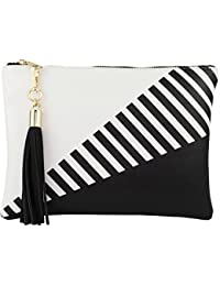 Vegan Clutch Bag Pouch with Tassel Accent