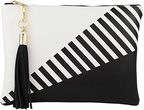 B BRENTANO Vegan Clutch Bag Pouch with Tassel Accent (Black) (Striped Womens Handbag)