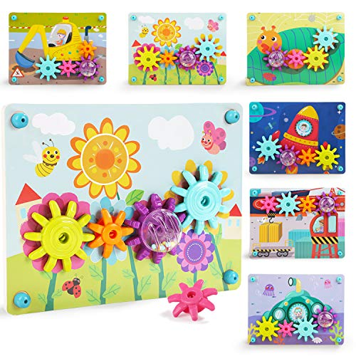 TOP BRIGHT Busy Toy Gears for Toddlers - Preschool Learning Color Matching Puzzle
