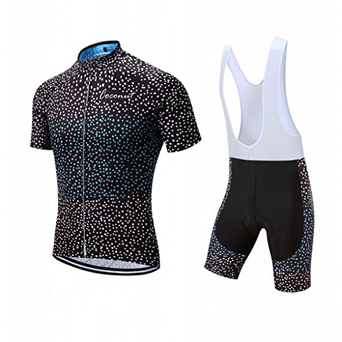 (Coconut Pro Team Men's Cycling Jersey Bib Shorts With 3D Padded (Large, Black/White dot))