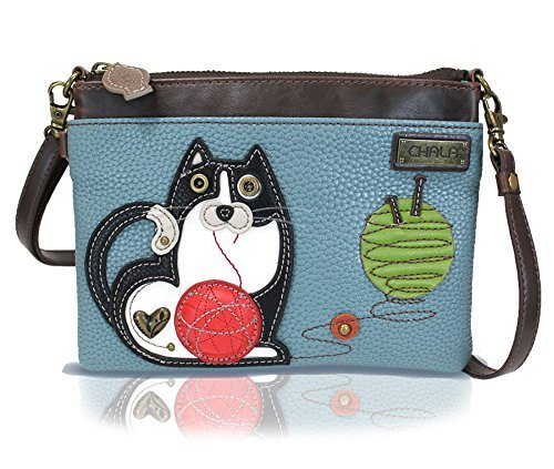 Cats Tickets (Chala Mini Crossbody Handbag, Multi Zipper, Pu Leather, Small Shoulder Purse Adjustable Strap - Fat Cat - BlueGray)