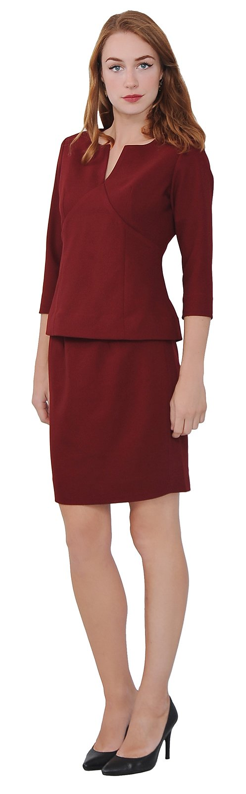 Marycrafts Women's Elegant Skirt Suit Set Work Office Business Wear 12 Burgundy