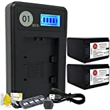 DOT-01 2x Brand 4200 mAh Replacement Sony NP-FH100 Batteries and Smart LCD Display Charger for Sony A380 Digital SLR Camera and Sony FH100 Accessory Bundle