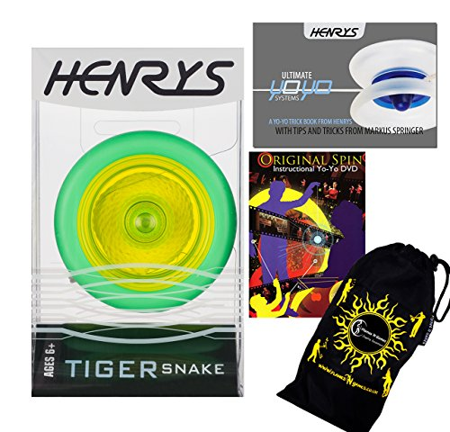 Henrys TIGER SNAKE YoYo (Green) Professional Looping Trick (2A) Bearing YoYo with AXYS system +Instructional Booklet of Tricks + 75 Yo-Yo Tricks DVD & Travel Bag! Pro YoYos For Kids ()
