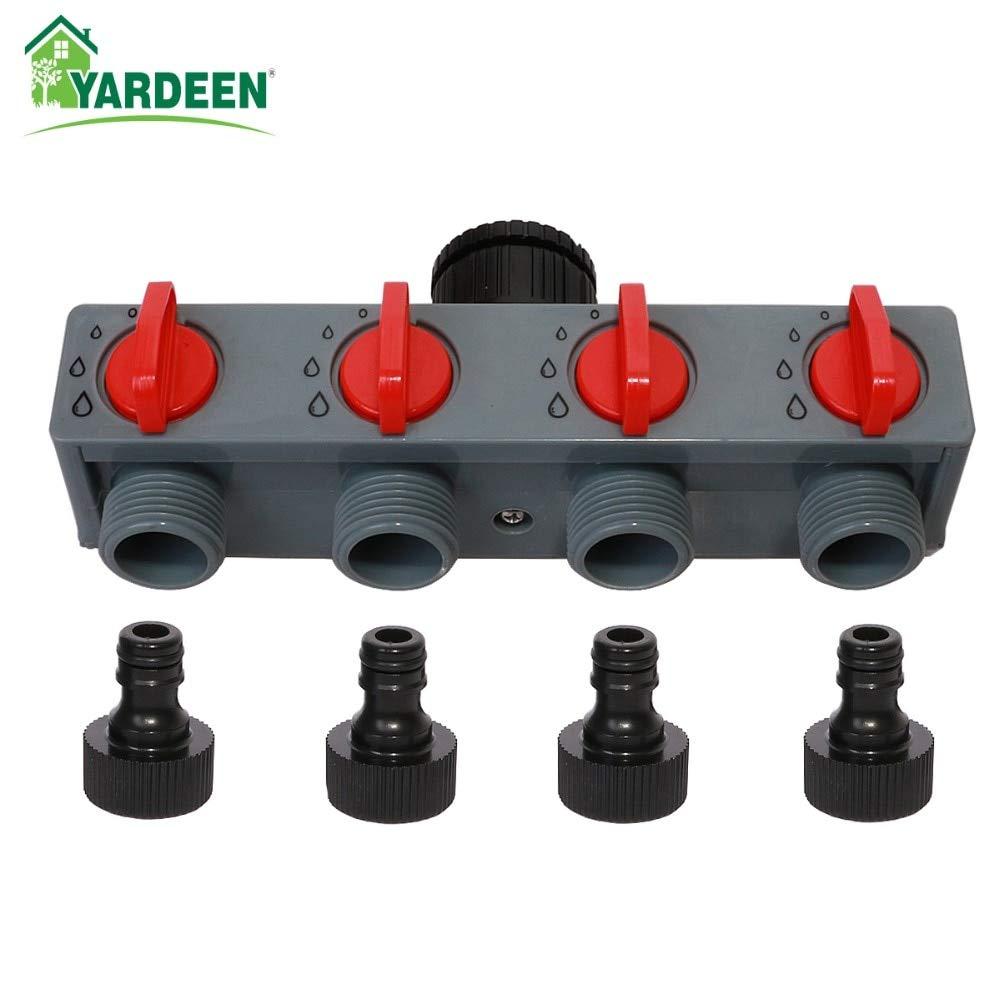 AZUDAN Garden Water Connectors| 4 Way Distributor 3/4'' and 1'' Abs Plastic Garden Hose Pipe Splitter Water Connector 4 Way Tap by AZUDAN