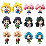 Sailor Moon Petit Chara School Life 4 Figures Saturn Neptune Uranus Pluto Sailor Moon Chibi Moon A Set of 6PCS