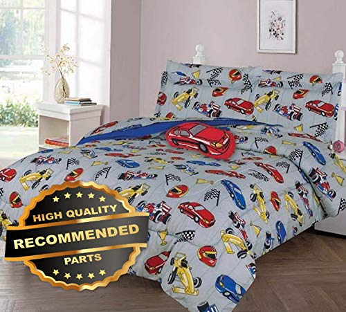 Werrox Dreaming Racing CAR Comforter Bed Sheet Set Window Panel Valance for Kids Teens Size | Quilt Style QLTR-291267454