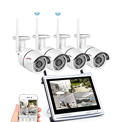 Cheap 4CH 1080P HD DVR NVR Wireless Security CCTV Surveillance Systems with ANRAN 2.0MP WiFi Indoor Outdoor 65ft Night Vision IP Cameras, DVR NVR with 12″ Monitor, P2P,No Hard Drive Included