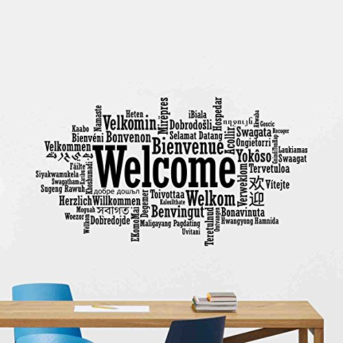 Welcome In Different Languages Wall Decal Word Cloud Office Quote Sign Motivational Gift Inspirational Lettering Vinyl Sticker Print Business Wall Art Room Design Decor Poster Mural 117bar