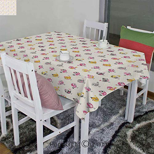 Washable Dust-Proof Tablecloth Velour Hemp by Cartoon Style Birds with Fancy Funny Animals with Accessories Top Hat Flowers(52