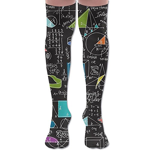 Math Xmas Tube Thigh High Sock Socks For Women & Men - Graduated Athletic Fit For Running, Nurses, Flight Travel, Skiing & Maternity Pregnancy - Boost Stamina & Recovery (Maths Activities Xmas)