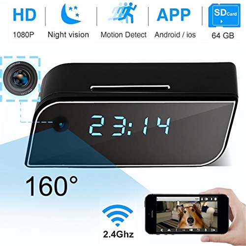 Wi-Fi Clock IP Camera, Hidden Camera 1080P Video Recorder Wireless IP Camera for Indoor Office Home Baby Pet Security Monitoring Nanny Cam 160°Angle Night Vision Motion Detection iOS Android App by ONMet