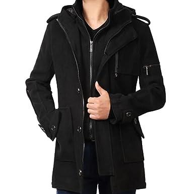 iPretty Men Winter Classic Warm Wool Coats Trench Jacket with Hood ...