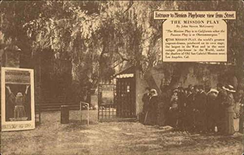 Entrance to Mission Playhouse view from Street San Gabriel, California Original Vintage Postcard