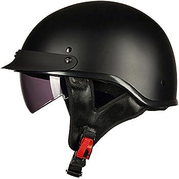ILM Half Helmet Motorcycle Open Face Sun Visor Quick Release Buckle DOT Approved Cycling Motocross Suits Men Women (L, MATT BLACK)