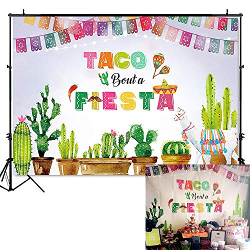 (Mehofoto Mexico Fiesta Backdrop Taco Bout a Fiesta Party Photography Background 7x5ft Vinyl Fiesta Theme Dress-up Party Supplies Banner Fiesta Event Decoration)