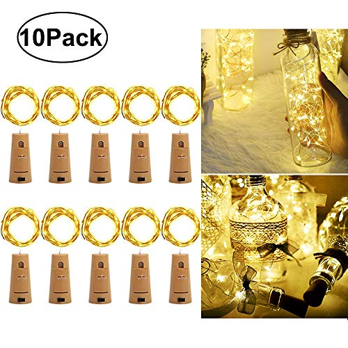 iLLTAKE Wine Bottle Lights with Cork, Warm White 10 Pack Battery Operated LED Cork Shape Silver Copper Wire Waterproof Fairy String Lights for DIY Wedding Party Decoration Halloween Christmas]()