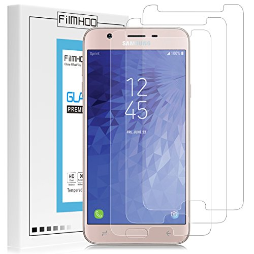 [3-Pack]FilmHoo for Samsung Galaxy J7 Refine 2018 Premium Tempered Glass Screen Protector,HD Clear,Bubble Free,Anti-Scratch,Lifetime Replacement Warranty