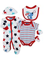 Parure de naissance 6 pièces - bébé garçon - blanc et bleu chien
