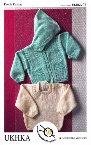Baby Double Knitting Pattern - Cable Knit Hooded Cardigan & Sweater with Button Detail (UKHKA 67)