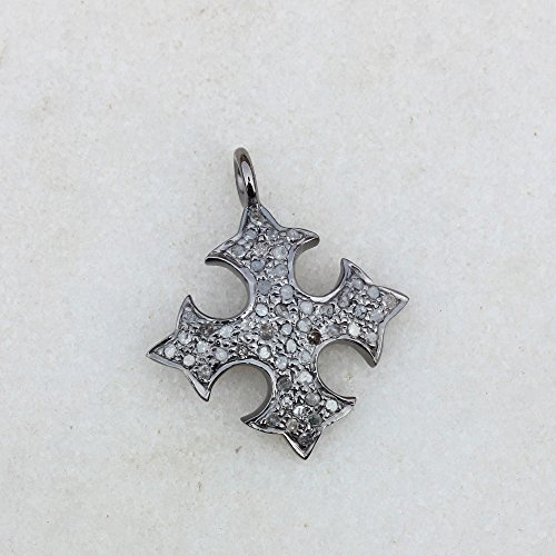 Natural 0.25 Ct Diamond Pave Religious Cross Charm Pendant 925 Sterling Silver Vintage Style Jewelry ()