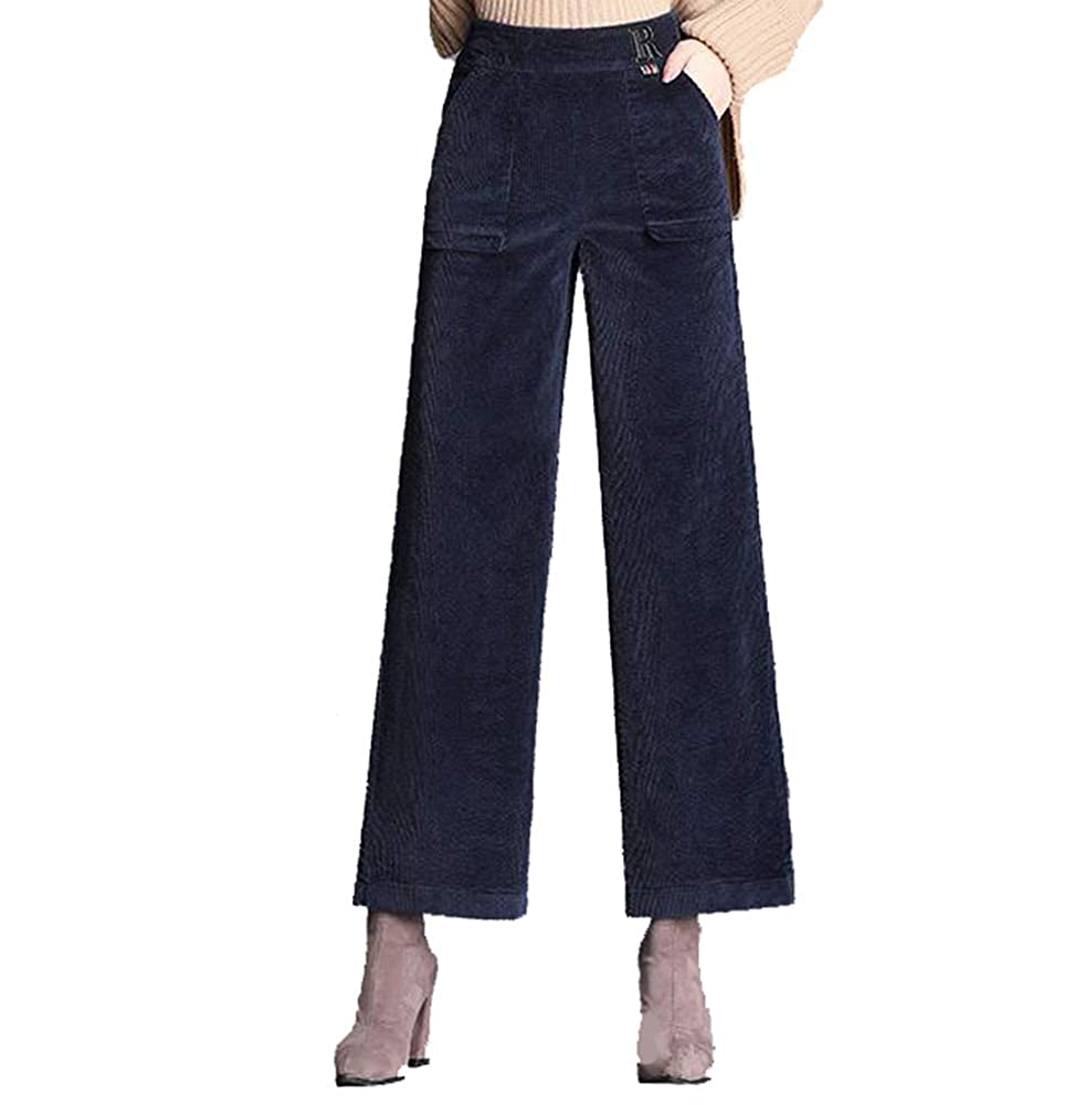 Women Wide Leg High Elastic Waist Cropped Pants Loose Palazzo Trousers Plus Size
