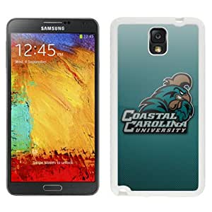 NEW Personalized Customized Galaxy Note 3 Cases with NCAA Big South Conference Coastal Carolina Chanticleers 5 Protective Cell Phone Hardshell Cover Case for Galaxy Note 3 III N900 N9005 White