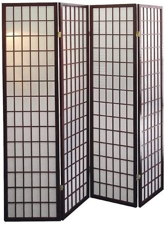 Square Style Room Divider 4 Panel Cherry