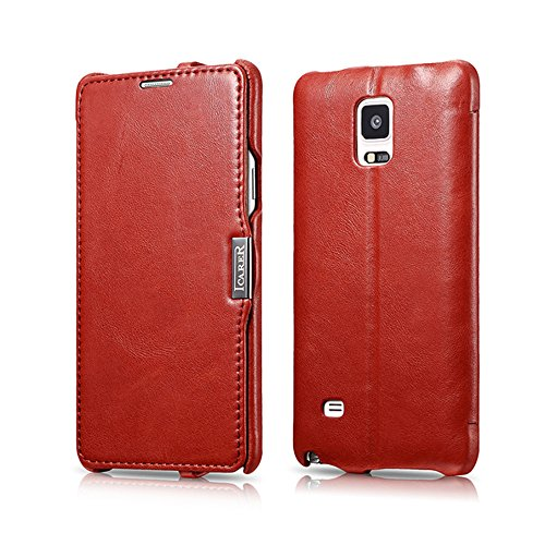 Galaxy Note 4 Case, [Vintage Classic Series] [Genuine Leather] Flip Cover Folio Case [Simple Stand], Corrected Grain Leather Case [1 Card Slot] with Magnetic Closure for Samsung Note 4 (Vintage Red)