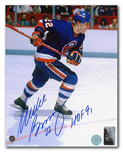 Mike Bossy New York Islanders Autographed Signed Rushing 8x10 Photo with HOF Note - Certified Authentic
