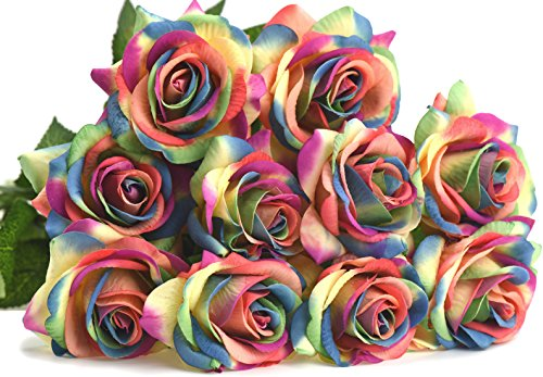 - FiveSeasonStuff 10 Rainbow Stems of Real Touch Silk s 'Petals Feel and Look like Fresh Roses' Artificial Flower Bouquet for Wedding Bridal Office Party Home Decor