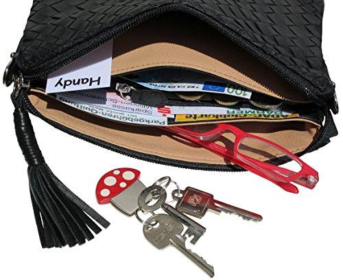 JOSYBAG edelste LEDER Geldbörse VEGAS - abschließbar samtweiches Nappaleder Clutch Gürtel Tasche switchbag WELTKLASSE Schwarz/Beschläge: SILBER