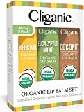 Cliganic USDA Organic Lip Balm Set - 3 Assorted Flavors - 100% Natural Lip Butter Chapstick for Cracked & Dry Lips: more info