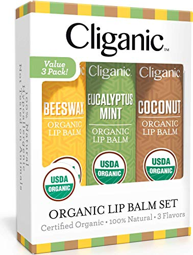 Cliganic USDA Organic Lip Balm Set - 3 Assorted Flavors - 100% Natural Lip Butter Chapstick for Cracked & Dry Lips (The Best Natural Lip Balm)