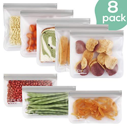 SPLF 8 Pack FDA Grade Reusable Storage Bags (5 Reusable Sandwich Bags, 3 Reusable Snack Bags), Extra Thick Leakproof Easy Seal Ziplock Lunch Bags for Food Storage Home Travel Organization