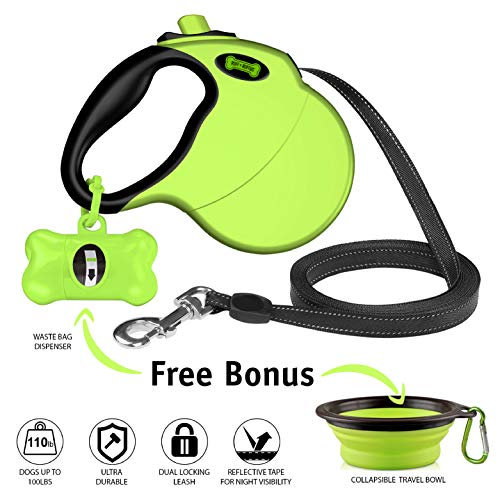 Holder Retriever Leash - Ruff 'n Ruffus Retractable Dog Leash with Free Waste Bag Dispenser and Bags + Bonus Bowl | Heavy-Duty 16ft Retracting Pet Leash | 1-Button Control | Durable Leash for Medium Large Dogs Up to 110lbs