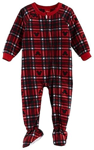 Disney Jammies For Your Families Mickey Mouse Blanket Sleeper Plaid Microfleece Footed Pajamas (24 - Pajamas Footed Plaid