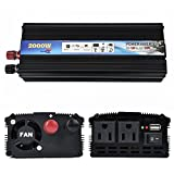 iMeshbean 2000W Car Power Inverter DC 12V/24V to AC 110V/220V with USB Slot& AC Outlets High Efficiency RV Solar Converter for Household Appliances Emergency & Outdoor Peak 4000W USA (DC12V - AC110V)