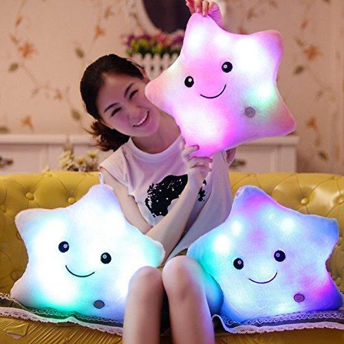 ZTD Creative Glowing LED Night Light Twinkle Star Shape Plush Pillow Stuffed Toys, Pink
