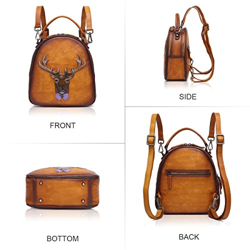 BROWN Bag Women Purse 8236 Embossing Rucksack APHISON 3D Leather Backpack Shoulder Ladies PqO1wzT