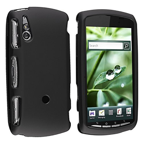 GTMax Hard Rubber Snap On Protector Cover Case - Black For Verizon Sony Ericsson Xperia Play R800 (Phone Sony Ericsson Case)