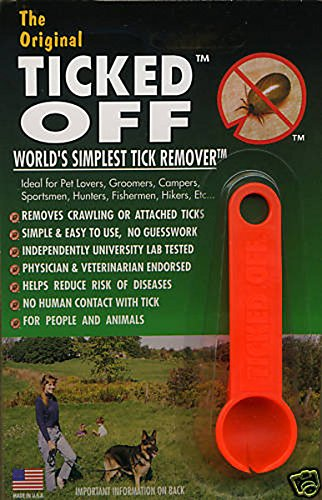 Ticked Off Orange Simple Tick Remover for Dogs Cats Puppies Kittens & Humans Orange
