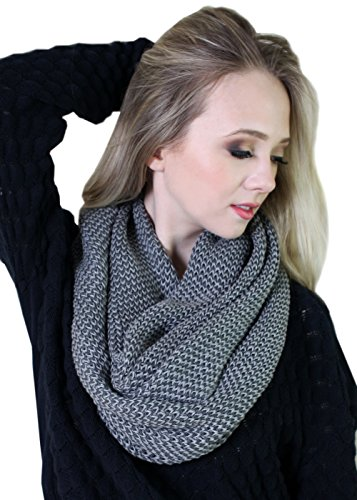 Viverano Pure Organic Cotton Knit Infinity Scarf, Soft, Eco-Friendly (Charcoal / Grey) (Cotton Knit Infinity Scarf)
