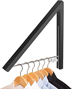 LIVEHITOP Clothes Drying Rack Wall Mount, Folding Clothes Airer Retachable Coat Rail for Laundry Room, Bedroom, Balcony, Motorhome (Black)